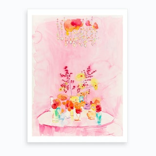 Table In Pink Art Print