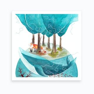 Fox And Whale 2 Art Print