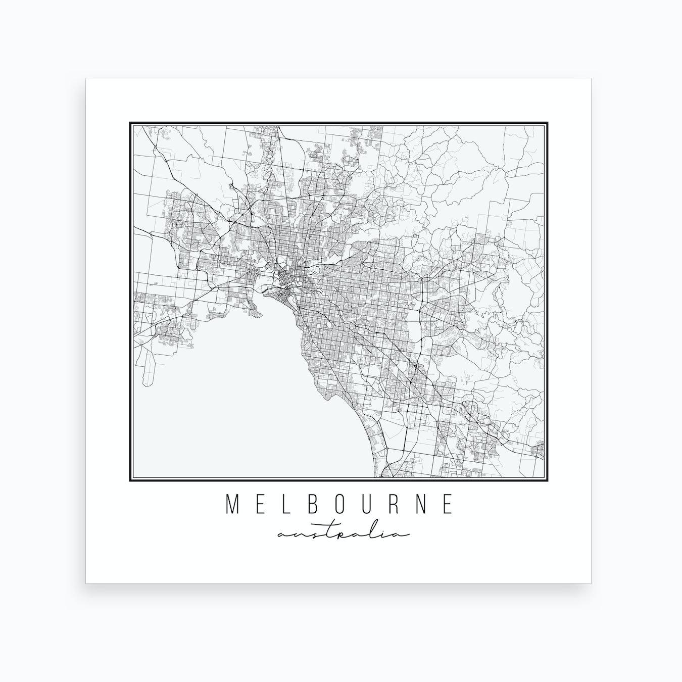 Australia Map Melbourne.Melbourne Australia Street Map Art Print