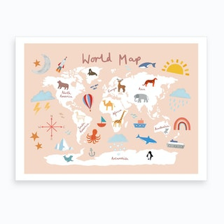 World Map In Pink Art Print