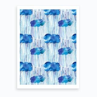 Raining Clouds Blue Art Print