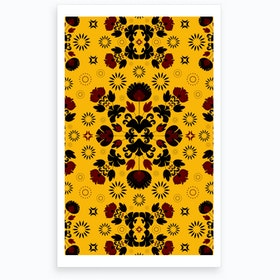 Wrong Fiesta Folk Yellow Art Print