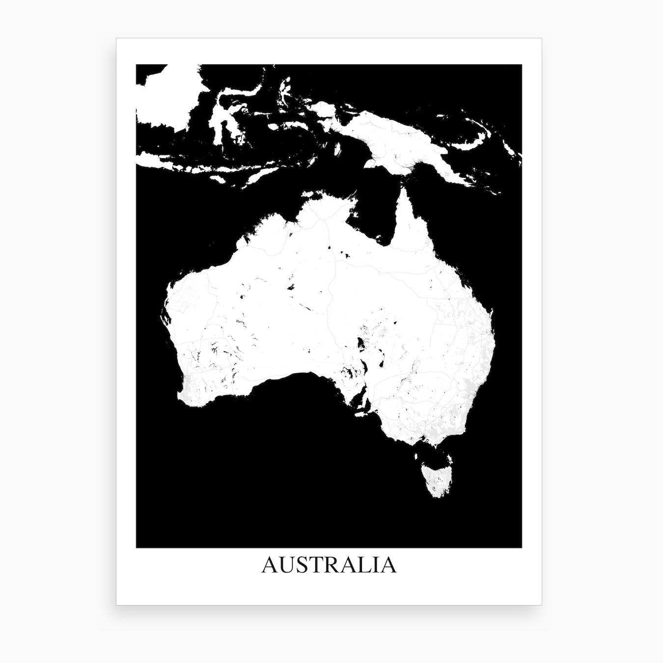 Australia Map Art.Australia White Black Map Art Print