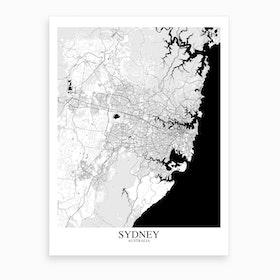 Sydney White Black Map Art Print