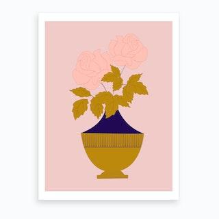 Pink Roses In A Golden Vase Art Print