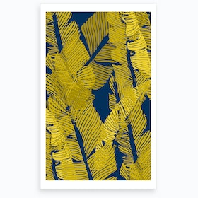 Wrong Carved Yellow&Blue Jungle Art Print