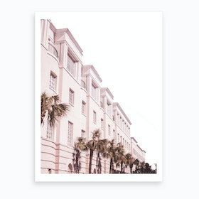 Pink And Palm Building Art Print
