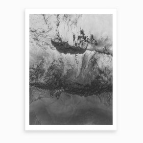 Grey White Abstract  Art Print