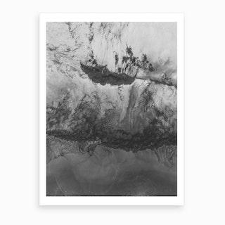 Grey White Abstract  Art Print