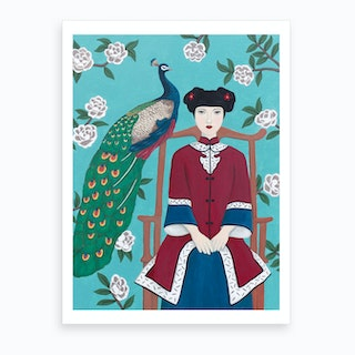 Chinese Woman And Peacock Art Print