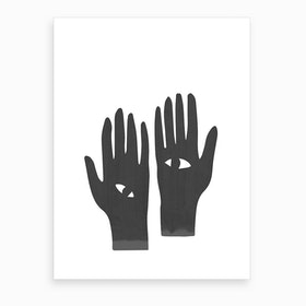 Eye Hands Black Art Print