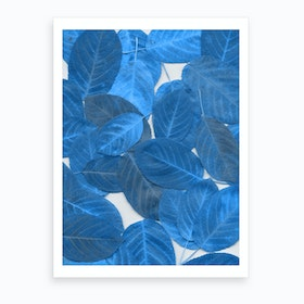Autumn Leaves Blue Art Print