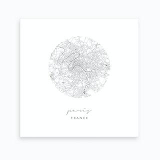Paris France Circle Map Art Print