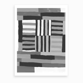 Painted Color Block Grid In Black And White Art Print