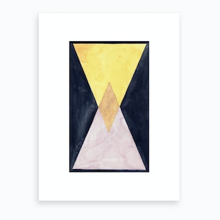 Pink And Gold Triangles Art Print