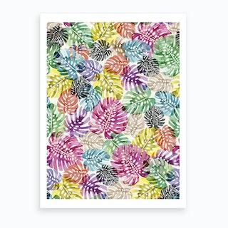 Tropical Monstera Leaves Multicolored Art Print