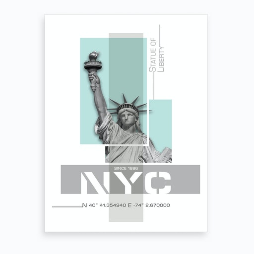 Poster Art Nyc Statue Of Liberty Turquoise Art Print