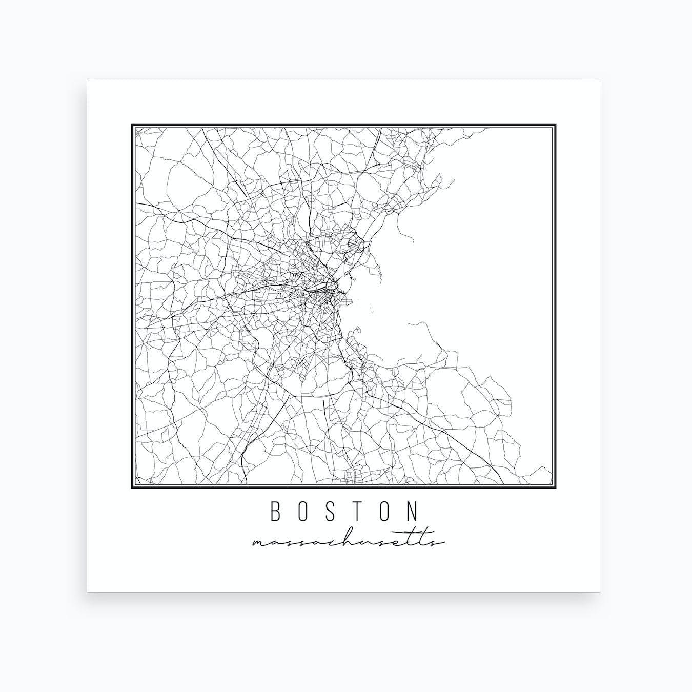 photo regarding Printable Map of Massachusetts called Boston Machusetts Road Map Artwork Print