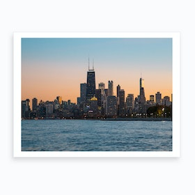 Windy City At Dusk Art Print