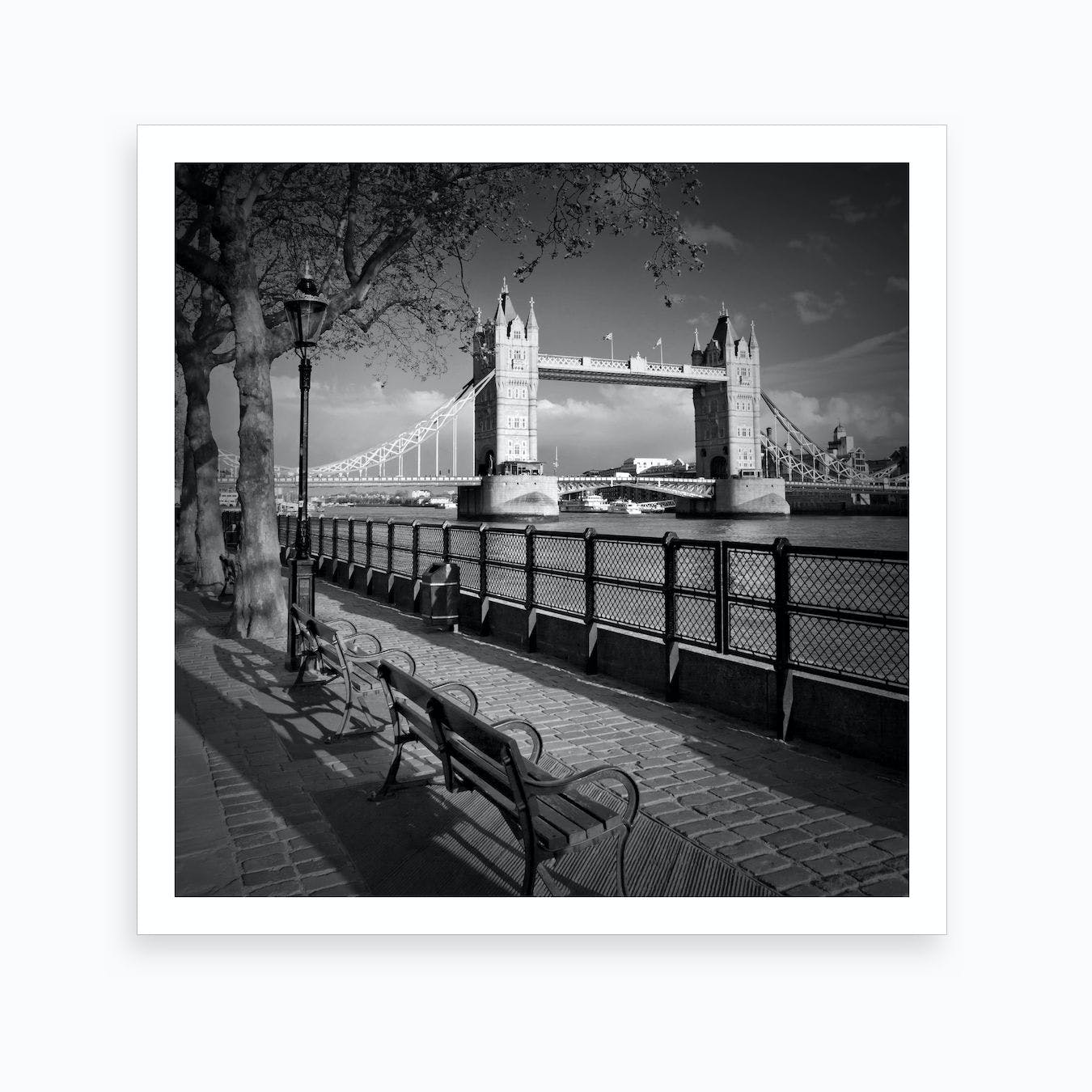 Thames Riverside & Tower Bridge Square Art Print