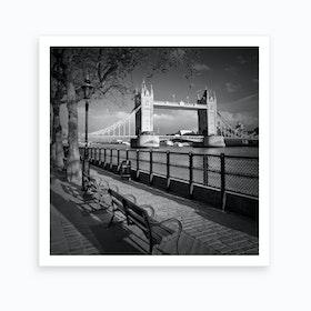 London Thames Riverside & Tower Bridge Square Art Print