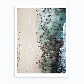 Sandy Beach Green Art Print