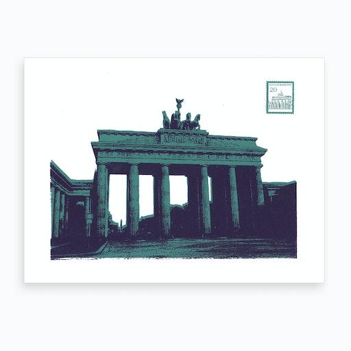 Berlin Screen Print Blue Art Print