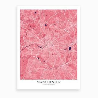 Manchester Pink Purple Map Art Print