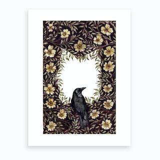 Crow In Vines Art Print