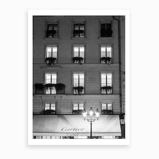 Paris Place Vendome Black And White Art Print