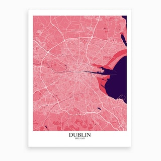 Dublin Pink Purple Map Art Print