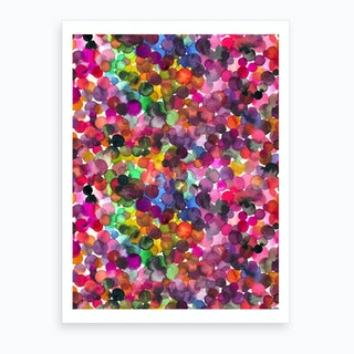 Overlapped Watercolor Dots Art Print