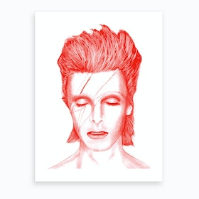Red Bowie Art Print