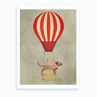 Dachshund With Hot Airballoon Art Print