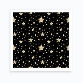 Gold Stars Pattern Art Print