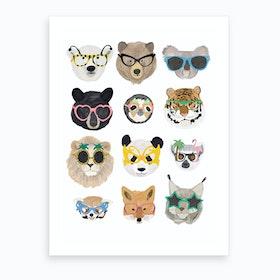 Big Cats In Glasses Art Print