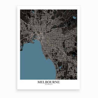 Melbourne Black Blue Map Art Print
