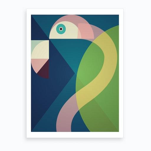 Mid Century Geometric Big Flamingo Art Print