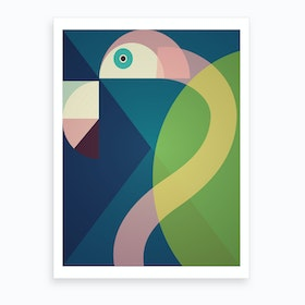 Mid Century Geometric Big Flamingo Art Print