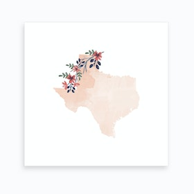 Texas Watercolor Floral State Art Print