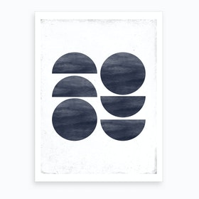 Dull Blue Half And Full Circle Abstract Art Print