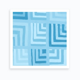 Painted Color Block Squares In Mint Art Print