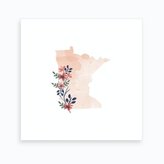 Minnesota Watercolor Floral State Art Print