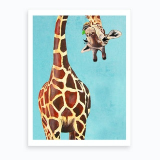 Giraffe With Green Leaf Art Print