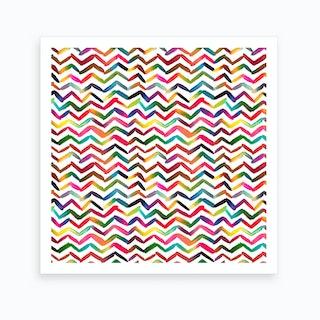 Chevron Stripes Multicolored Square Art Print