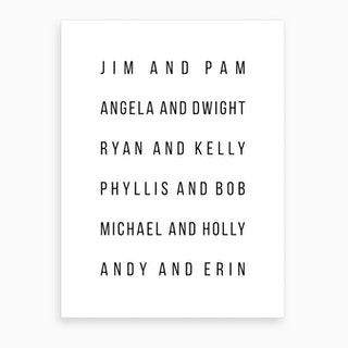 The Office Couples List Art Print