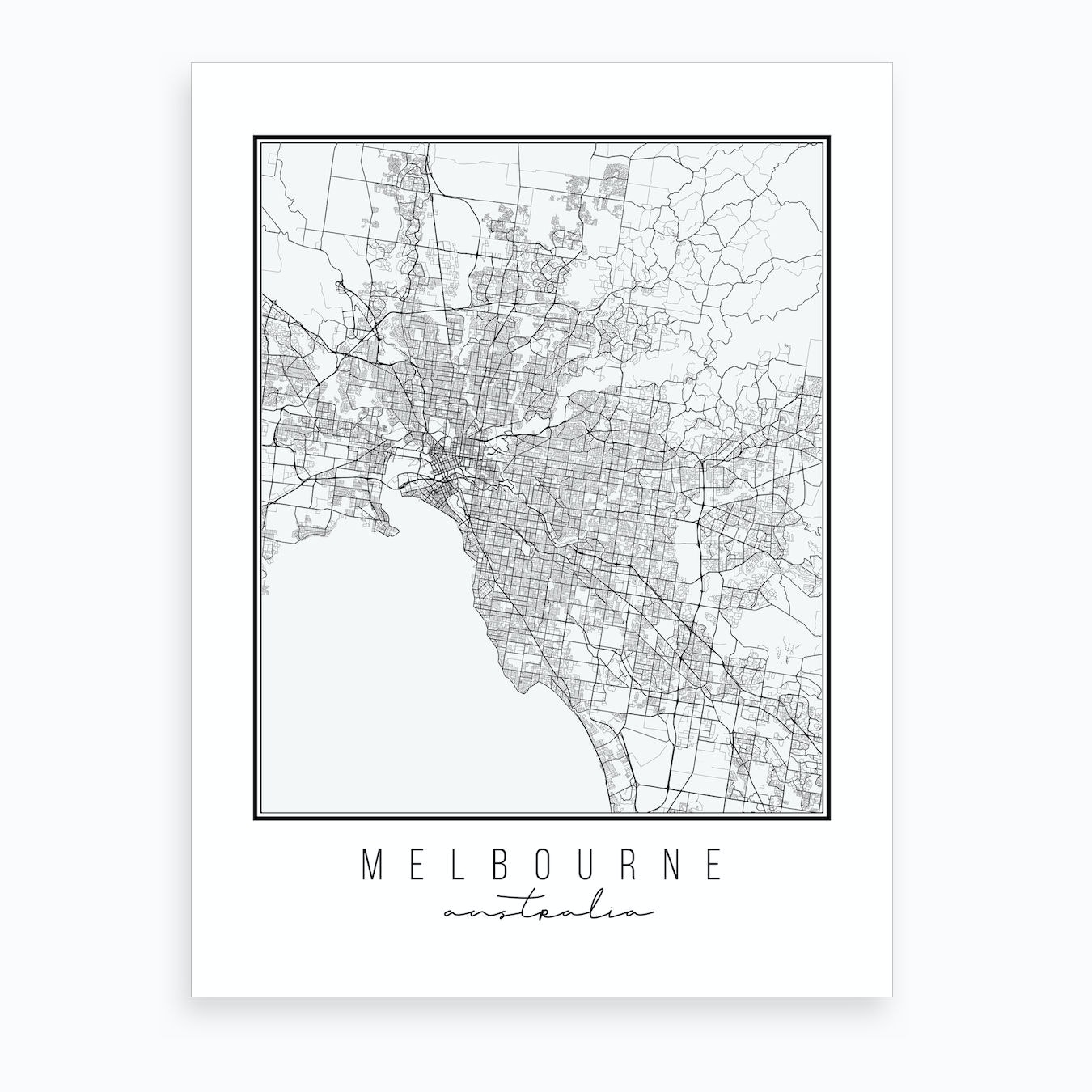 Melbourne Australia On A Map.Melbourne Australia Street Map Art Print