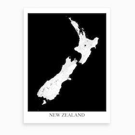 New Zealand White Black Map Art Print