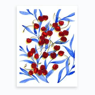Cherries On The Table Art Print