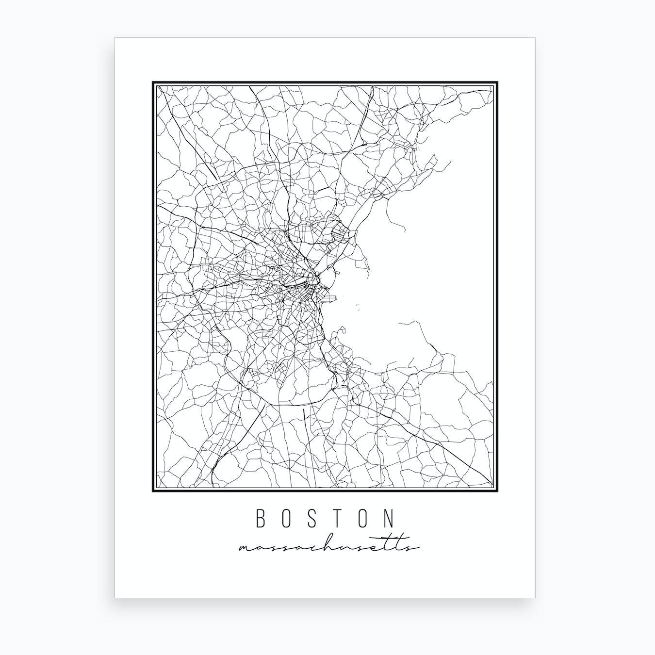 picture about Printable Map of Massachusetts named Boston Machusetts Road Map Artwork Print